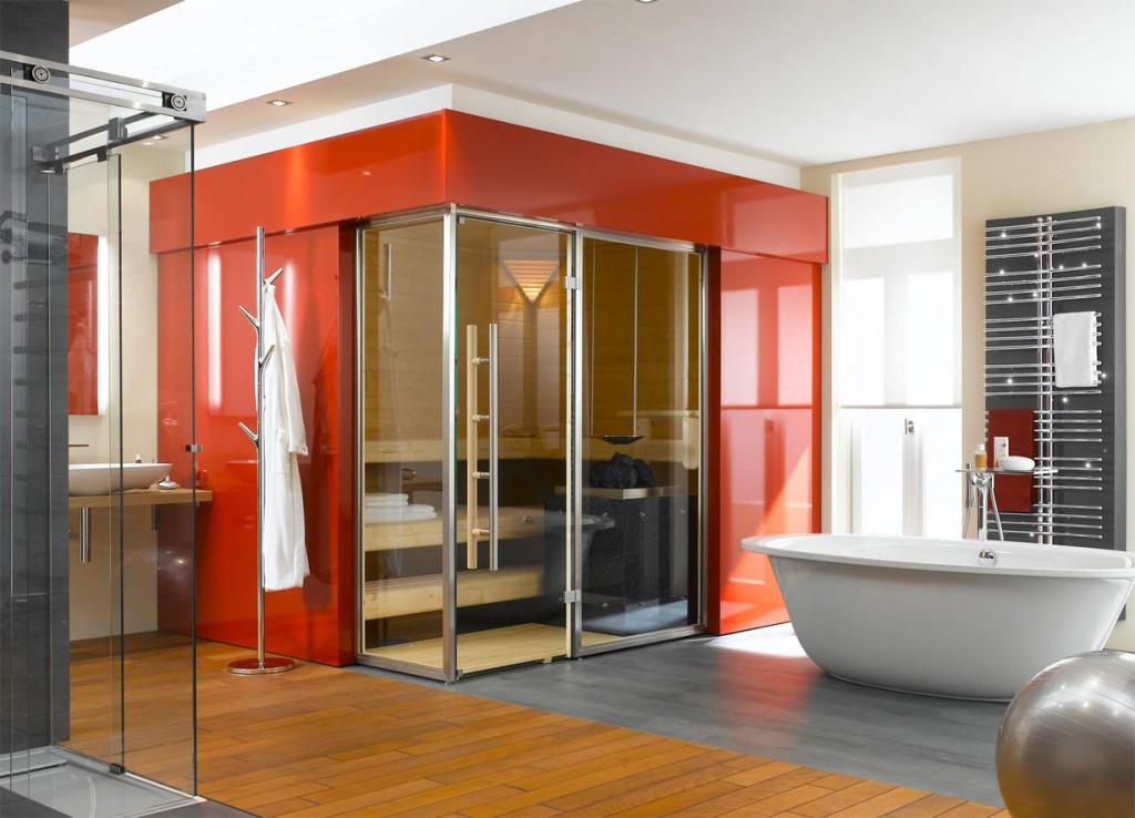 Sauna mit roter Lackverkleidung für moderne Bäder. Bild: tdx/ B+S Finnland Sauna