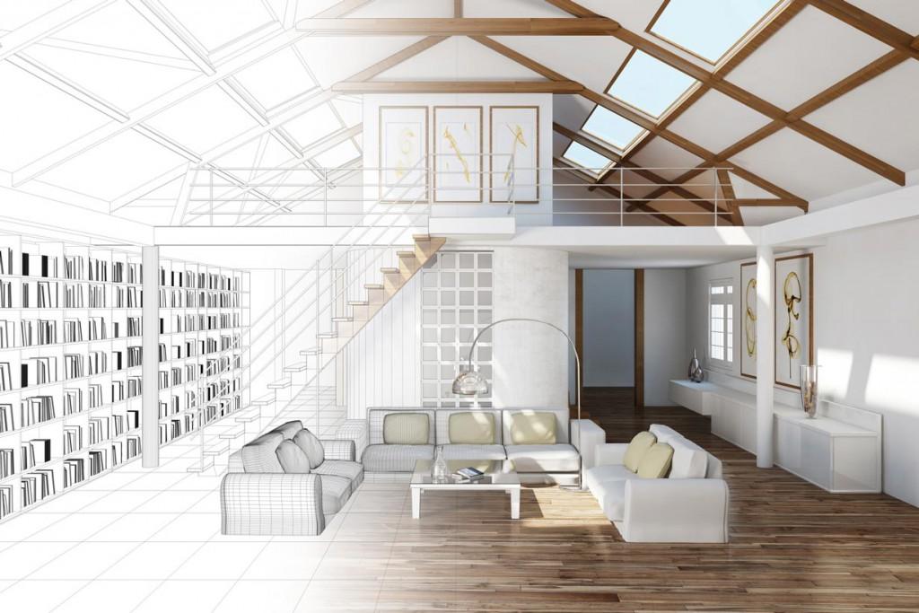 Eine Skizze oder 3D-Raumplanung liefert einen ersten Eindruck, wie die Wohnung später aussehen könnte. Bild: fotolia