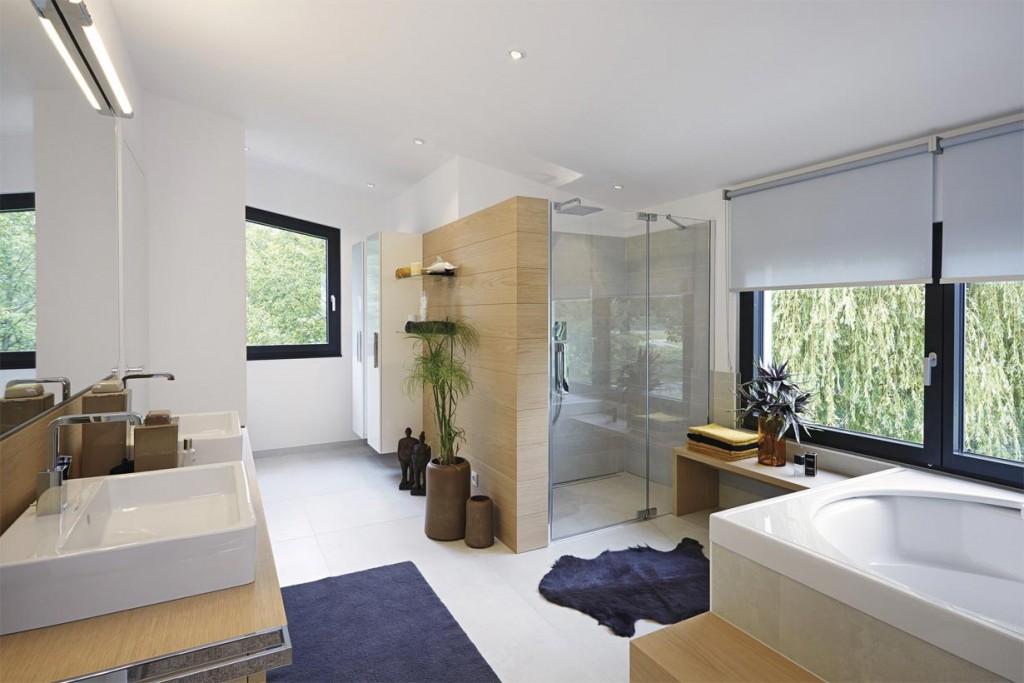 Skulpturale Architektur im urbanen Trend. Badezimmer. Bild: Weber Haus