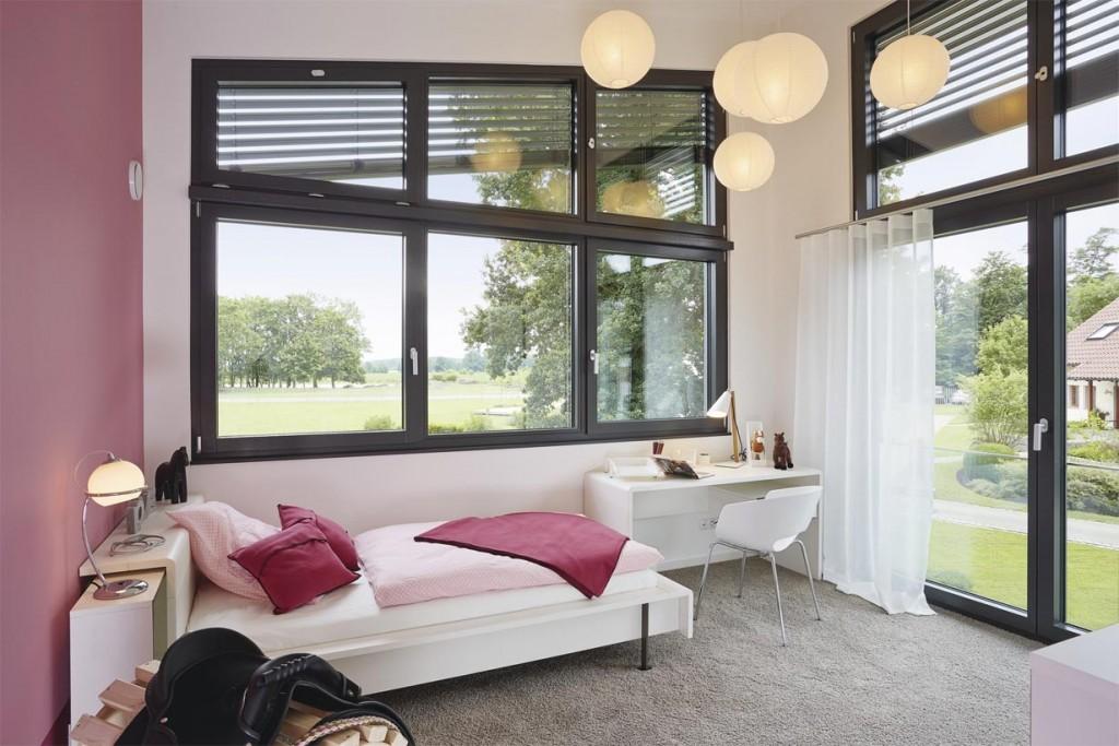 Skulpturale Architektur im urbanen Trend. Gästezimmer. Bild: Weber Haus