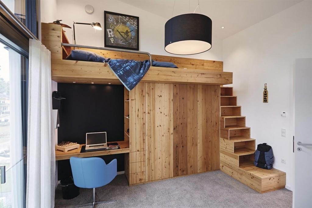 Skulpturale Architektur im urbanen Trend. Kinderzimmer. Bild: Weber Haus