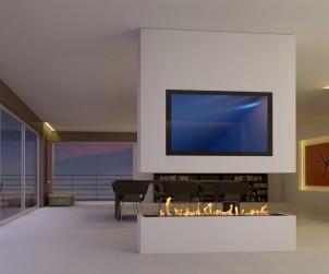 Ein Elektrokamin wertet den Wohnraum spürbar auf, denn sein attraktives Flammenspiel lädt zum Träumen und Verweilen ein. Neben einer großen Zahl an verschiedenen Kaminen bietet muenkel design auch Sonderanfertigungen. Bild: tdx/muenkel design
