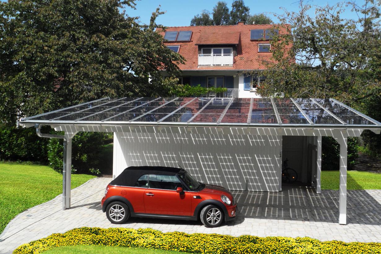 Solarwärme auf dem Hausdach unterstützt die Warmwasserbereitung. Photovoltaik auf einem Carport erzeugen Strom, der ins öffentliche Netz eingespeist wird. Bildquelle: tdx/Carportwerk