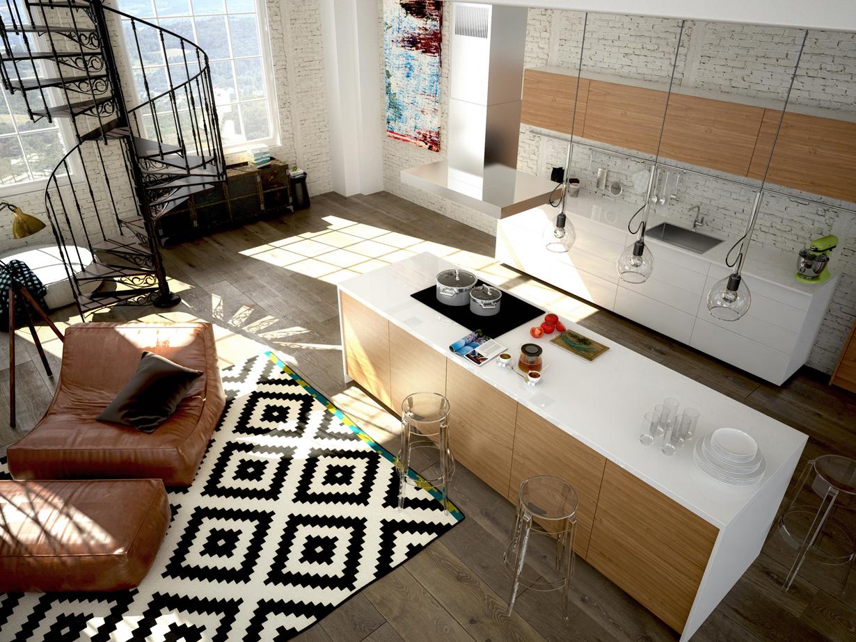 Ein Loft lebt von den Kontrasten zwischen Alt und Neu. Die moderne Küche und bequeme Polstermöbel stehen hier der Backsteinmauer sowie der gusseisernen Spindeltreppe entgegen. Dank der großzügigen Raumstruktur ergänzen sich die Gegensätze zu einem harmonischen Interieur. Bild: Fotolia