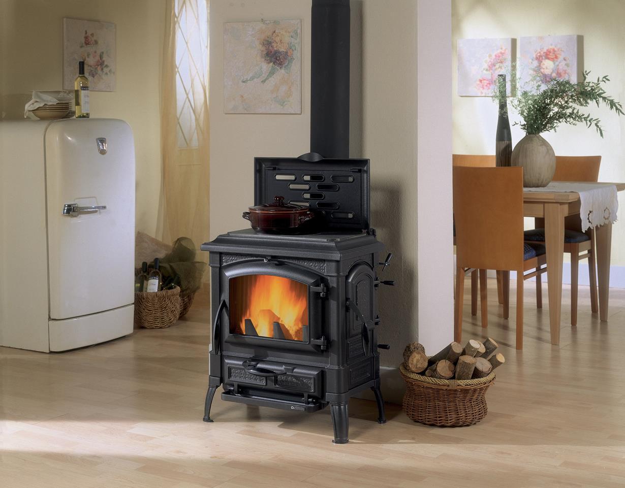 Kaminöfen gibt es in großer Design-Vielfalt: Rund, eckig oder oval, in historischer Gusseisenoptik mit Kochplatte. Wasserführende Fabrikate ermöglichen neben dem Heizen auch die Erwärmung von Brauchwasser, Speicheröfen verfügen über einen Wärmespeicher, der auch dann noch heizt, wenn das Holz bereits verglüht ist. Bildquelle: tdx/Kleining